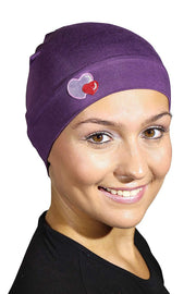 Landana Headscarves Womens Soft Sleep Cap Comfy Cancer Hat with Hearts Applique