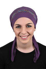 Pretied Headscarf Chemo Cap Modesty with Rhinestone Floral Band