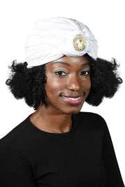 Ladies Headscarves Turban with Gold Pearl Circle