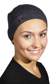 Landana Headscarves Soft Sleep Cap Comfy Women's Wig Liner & Hair Loss Cap with Small Stud Flower Applique