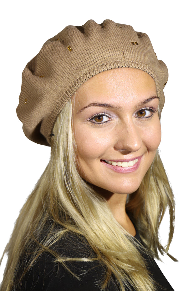 Landana Headscarves Beret with Gold Crystal Studs