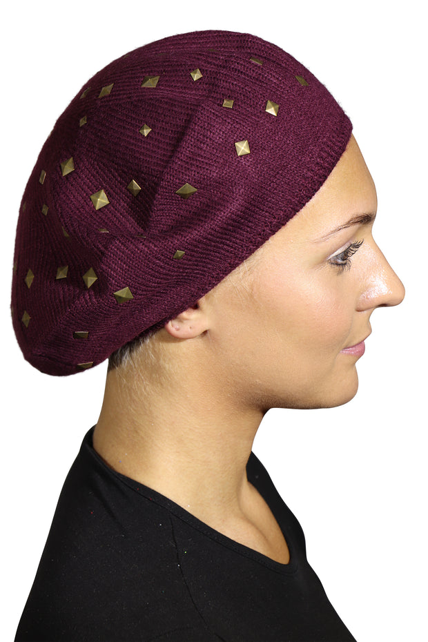 Landana Headscarves Beret with Gold Studs