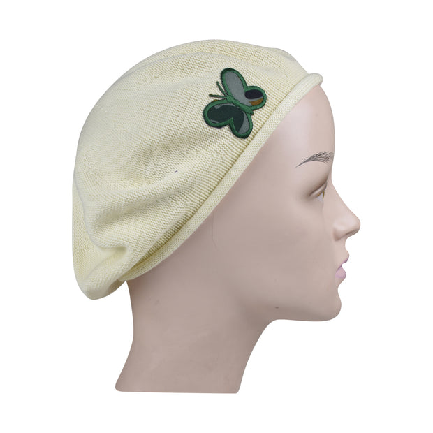 White 100% Cotton Beret French Ladies Hat with Army Butterfly Applique