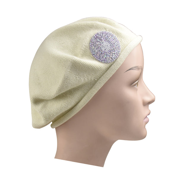 Beaded Lavender Circle on Beret for Women 100% Cotton - Cream