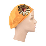 Landana Headscarves Cotton Ladies Beret with Large Gold & Red Flower