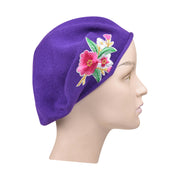 Landana Headscarves Blue 100% Cotton Beret French Ladies Hat with Pink Flower Bouquet
