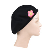 Pink and Gold Flower Applique on Cotton Beret Womens Head Cover