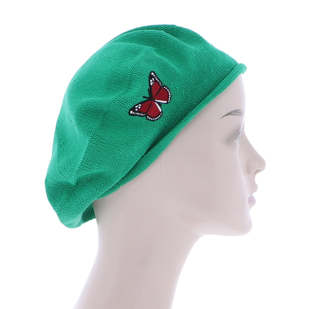 Red Butterfly on Beret for Women 100% Cotton-Brown