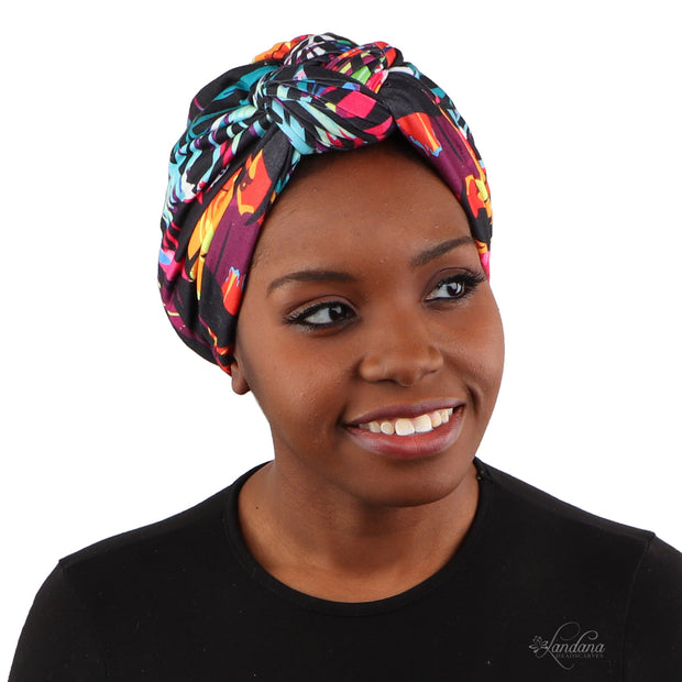 Landana Headscarves Printed Turban for Women with Twist Knot - Black with Neon Design
