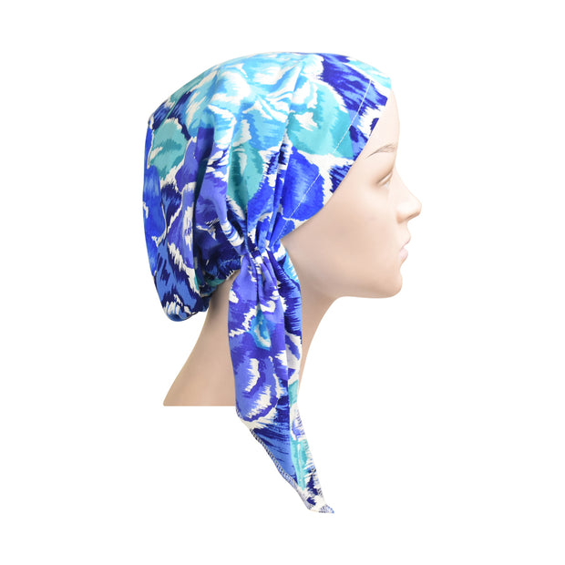 Cotton Soft Ladies Pre-Tied Bandana Chemo Cap Headscarf Blue