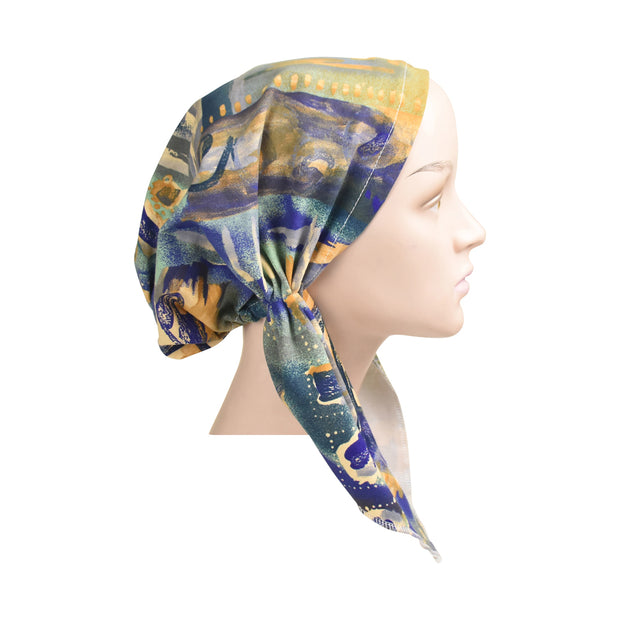 Cotton Soft Ladies Pre Tied Bandana Chemo Cap Headscarf Blue Teal