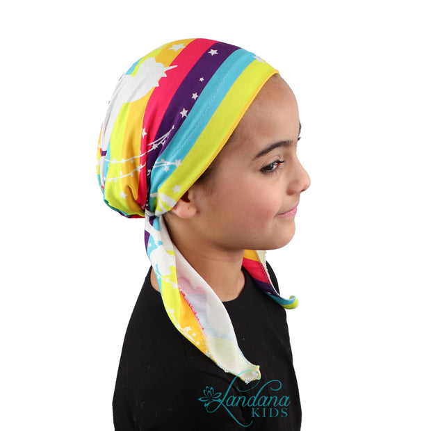 Printed Headscarf for Kids Pretied Cancer Cap - Rainbow Unicorn