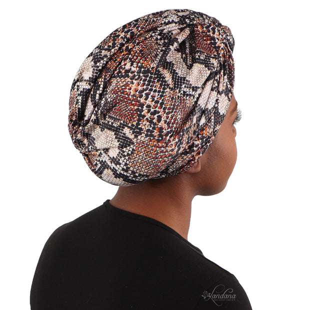 Brown Printed Turban with Twist Knot
