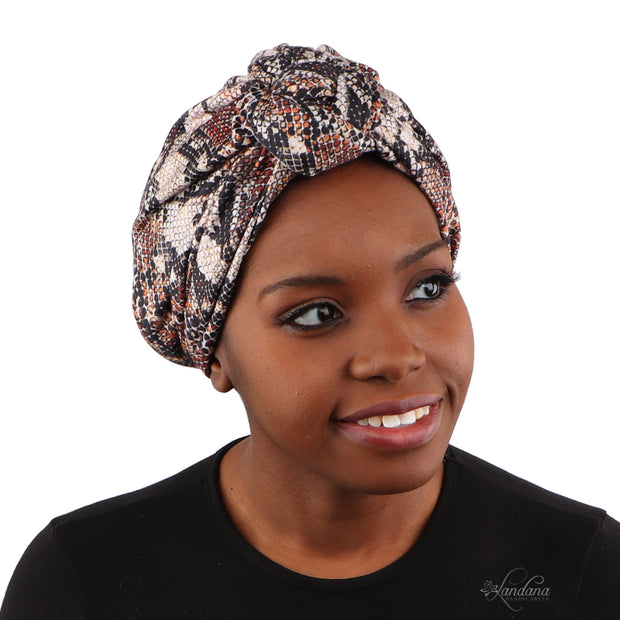 Landana Headscarves Printed Turban for Women with Twist Knot - Brown