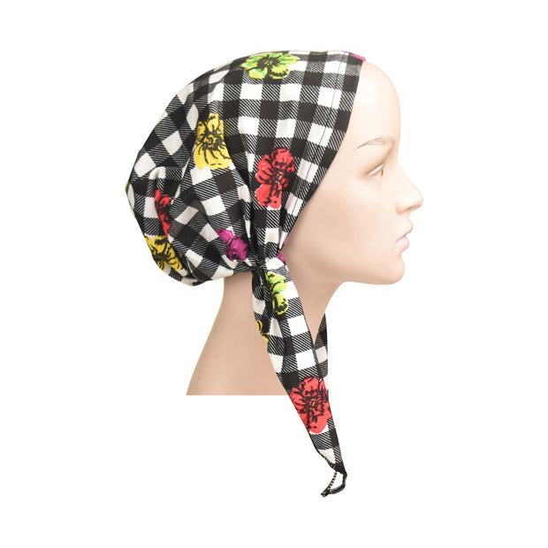 Womens Black And White Checkered Pretied Bandana Headscarf
