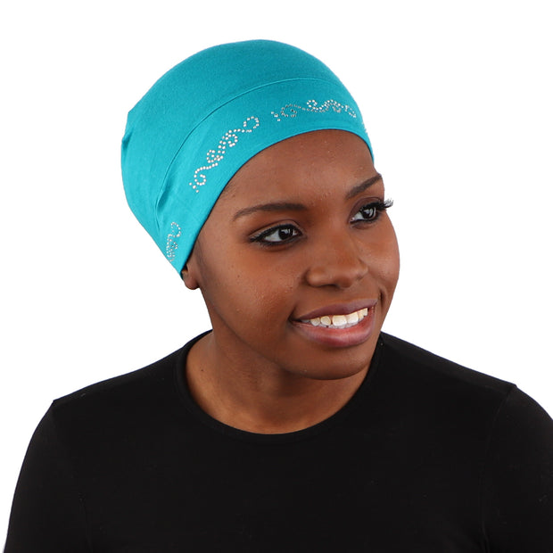 Sleep Cap / Wig Liner with Rhinestone Swirl Chain