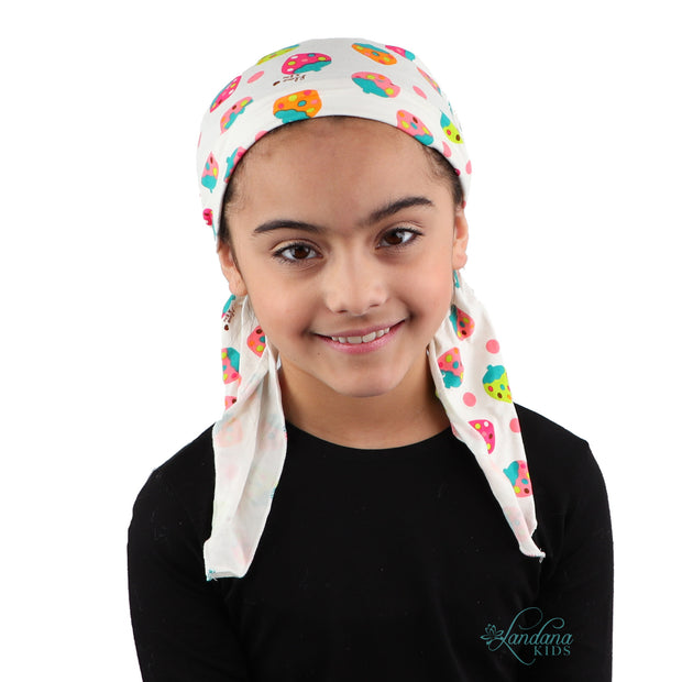 Kids Pretied Head Scarf Cancer Chemo Cap Printed Headcover for Girls - Colorful Strawberries