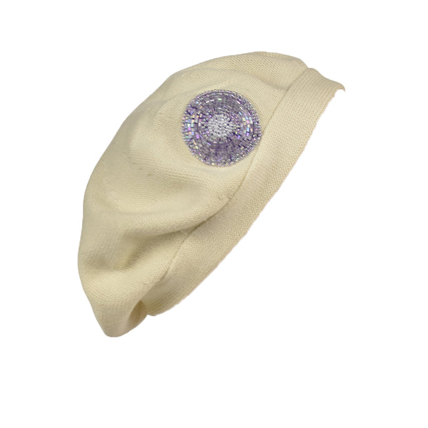 Beret for Women Cotton Flat Band with Lavender Circle