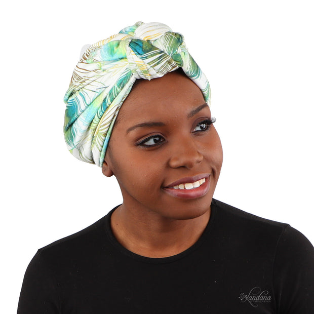 Landana Headscarves Printed Turban for Women with Twist Knot - Green Leaves
