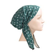 Cotton Soft Ladies Pre Tied Bandana Chemo Cap Headscarf Green and White