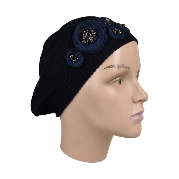 Knit Beret with Chiffon Circles