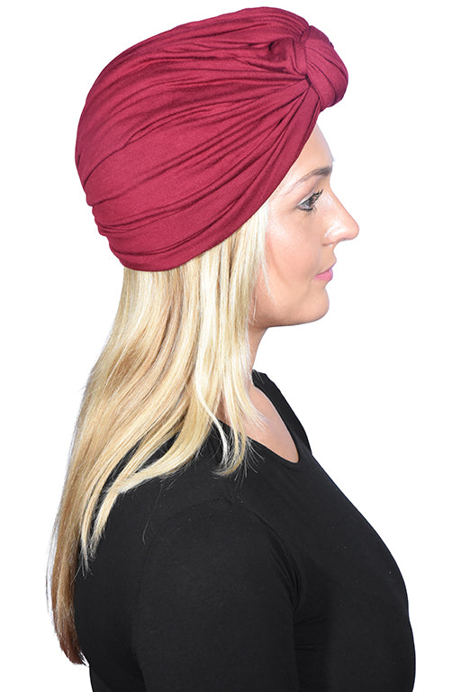 Solid Turban with Twisted Knot Front