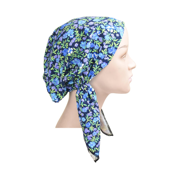Cotton Soft Ladies Pre Tied Bandana Chemo Cap Headscarf Navy and Blue