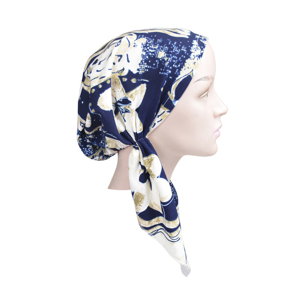Cotton Soft Ladies Pre Tied Bandana Chemo Cap Headscarf Navy And Tan