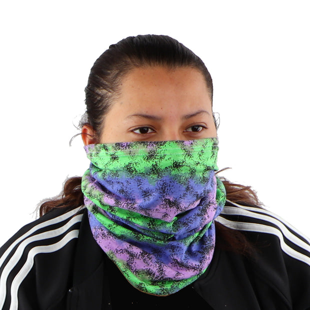 2 Ply Face Mask MADE IN USA Cotton Pattern Washable Masks and Neck Gaiter Matching Set (Speckled Green And Purple)
