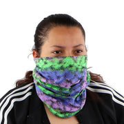 Cotton Stretch Neck Gaiters Multi Use Scarf (Purple Blue Green)