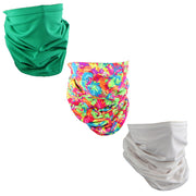 Set of 3 Cotton Stretch Neck Gaiters Multi Use Scarf White Neon Flowers Green