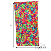 Set of 3 Cotton Stretch Neck Gaiters Multi Use Scarf - Neon Flowers