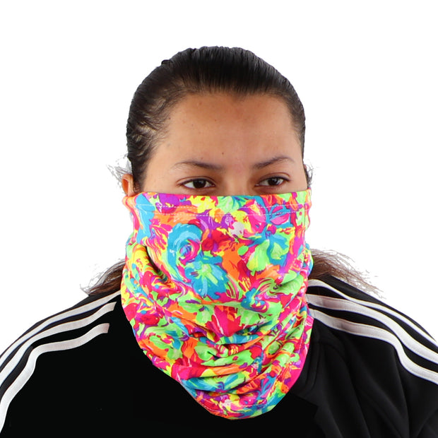 2 Ply Face Mask MADE IN USA Cotton Pattern Washable Masks and Neck Gaiter Matching Set (Neon Flowers)