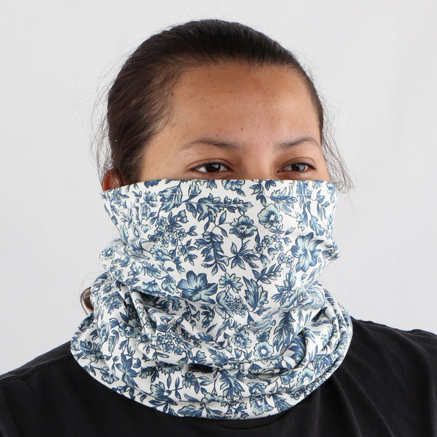 2 Ply Face Mask MADE IN USA Cotton Pattern Washable Masks and Neck Gaiter Matching Set (Blue Flowers)