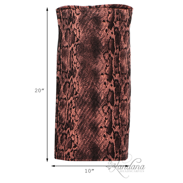 Cotton Stretch Neck Gaiters Multi Use Scarf (Peach Snakeskin)