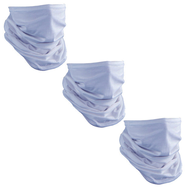 Set of 3 Cotton Stretch Neck Gaiters Multi Use Scarf - Light Blue