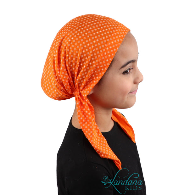 Kids Pretied Head Scarf Cancer Chemo Cap Printed Headcover for Girls - Orange and White Dots