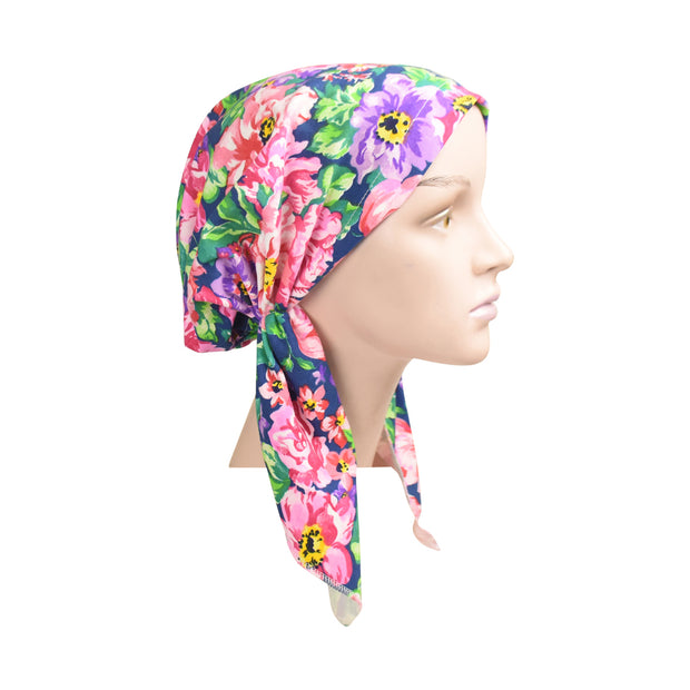 Cotton Soft Ladies Pre Tied Bandana Chemo Cap Headscarf Painted Floral