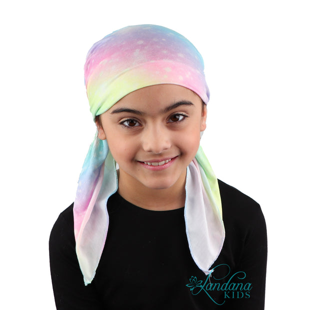 Printed Headscarf for Kids Pretied Cancer Cap - Pastel Ombre