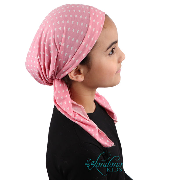 Kids Pretied Head Scarf Cancer Chemo Cap Printed Headcover for Girls - Pink Hearts