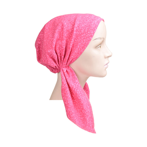 Cotton Soft Ladies Pre Tied Bandana Chemo Cap Headscarf Pink Marble