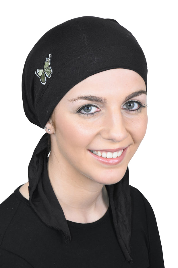 Pre Tied Head Scarf Bandana Headwear Green Butterfly