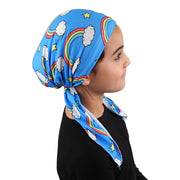 Printed Headscarf for Kids Pretied Cancer Cap - Rainbows and Stars