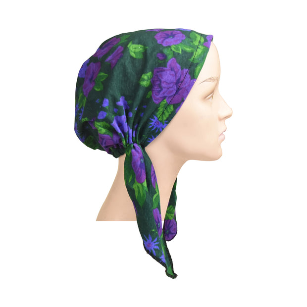 Cotton Soft Ladies Pre Tied Bandana Chemo Cap Headscarf Purple Morning Glory