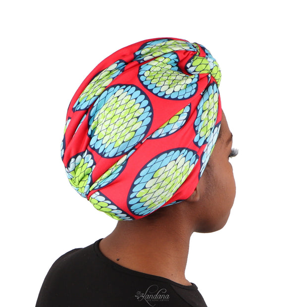 Landana Headscarves Printed Turban for Women with Twist Knot - Red African Print