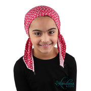 Kids Pretied Head Scarf Cancer Chemo Cap Printed Headcover for Girls - Red Butterfly