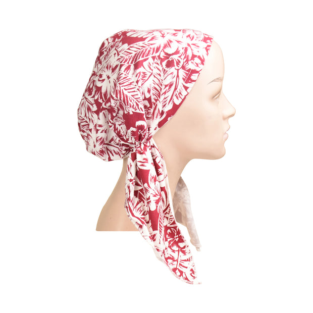 Cotton Soft Ladies Pre Tied Bandana Chemo Cap Headscarf Red With White