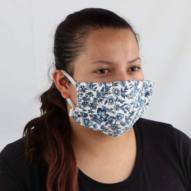 Blue Flowered 2-Ply Cotton Washable Face Mask