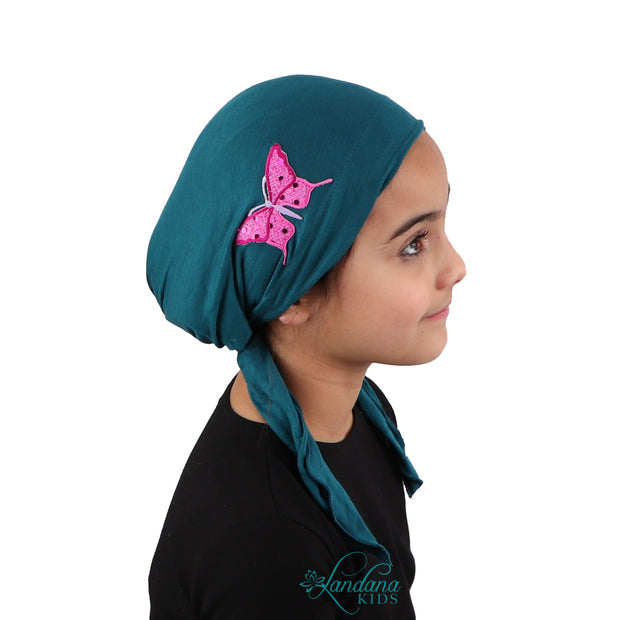 Sequin Butterfly Applique on Child's Pretied Head Scarf Cancer Cap