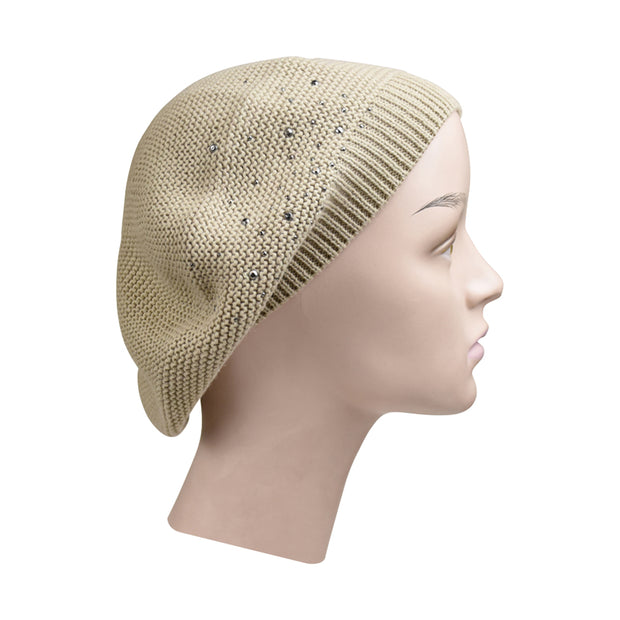 Knit Beret / Snood with Studs
